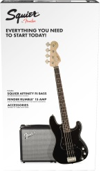 Fender® 030-1972-006 Squier Affinity Series Bass Pack Black w/ Rumble 15 Amp
