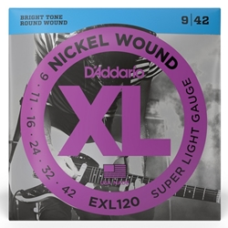 D'Addario  Nickel Wound Super Light Electric Guitar Strings - .009 - .042 EXL120